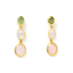 3 Drop Earrings : Serpentine x MoonStone x RoseQuartz
