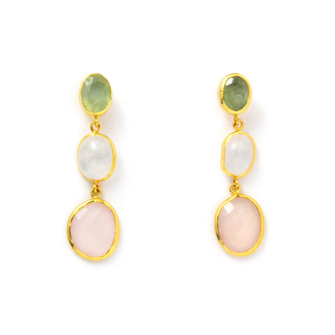 3 Drop Earrings ( S-size) : Serpentine x MoonStone x RoseQuartz
