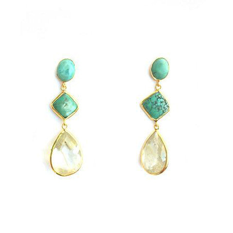 3 Drop Earrings : Turquoise x Rutile