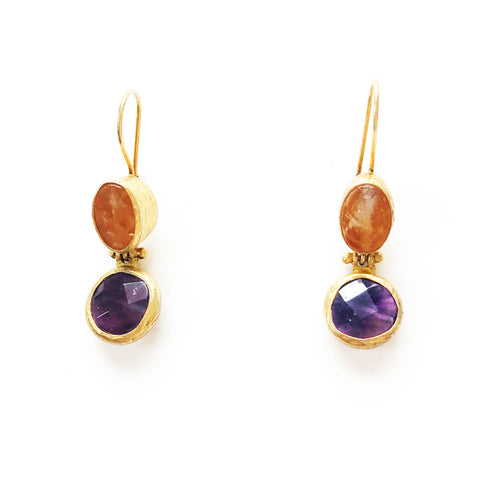 2 Drop Earrings (hock): Citrine x Amethyst