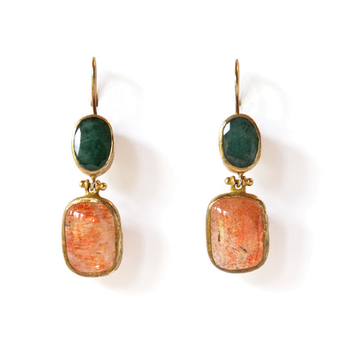 2 Drop Earrings (hock): Jade x Quartz