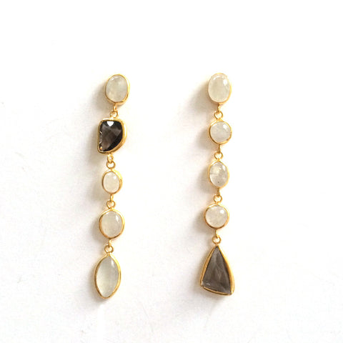 5 Drop Earrings : Moonstone x SmokyQuartz