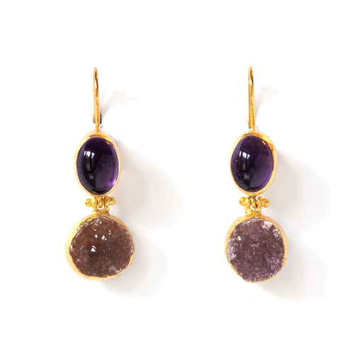 2 Drop Earrings (hock): Amethyst x Amethyst