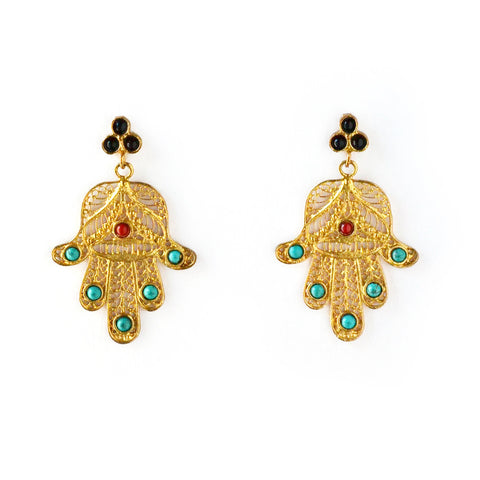 Ottoman Earring : Turquoise & Red