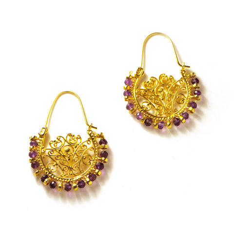 Lace Hoop Earrings : Amethyst