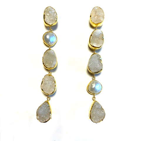 5 Stones White Earrings