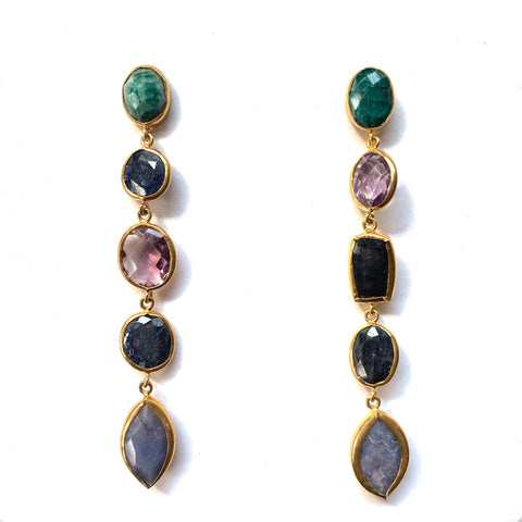 5 Drop Earrings : Emerald x Amethyst x Sapphire