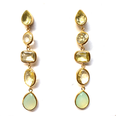 5 Drop Earrings : Topaz x Chalcedony