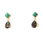 2 Drop Earrings : Turquoise x Smoky Quartz