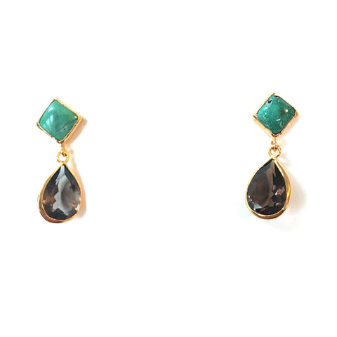 2 Drop Earrings ( S-size) : Turquoise x Smoky Quartz