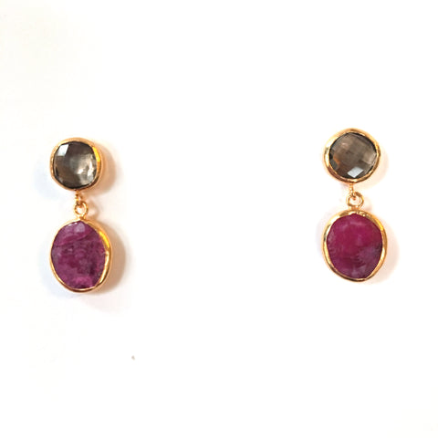 2 Drop Earrings : Smoky Quartz x Ruby