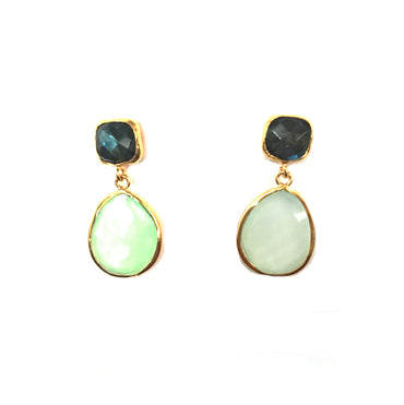 2 Drop Earrings : Labradorite x Chalcedony