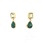 2 Stone Earrings : Topaz x Emerald