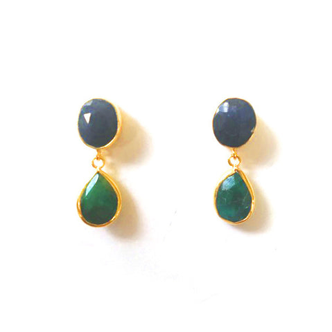 2 Stone Earrings : Sapphire x Emerald