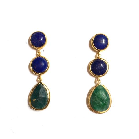 3 Drop Earrings : LapisLazuli x Emerald