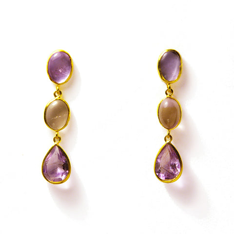 3 Drop Earrings ( S-size) : Amethyst
