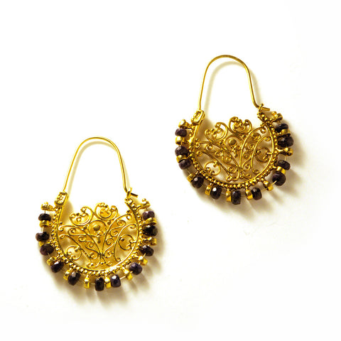 Lace Hoop Earrings : Sapphire