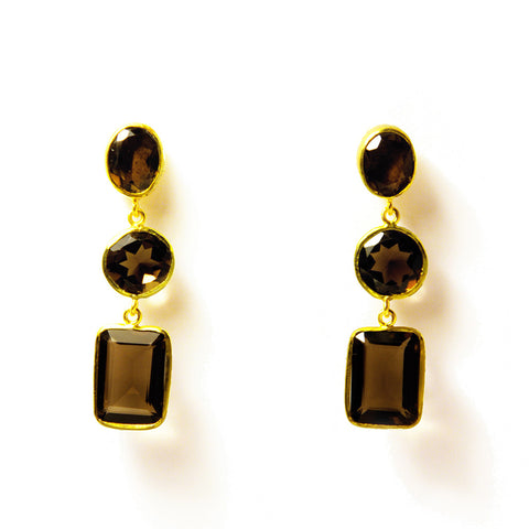 3 Drop Earrings : Smoky Quartz