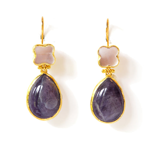 2 Drop Earrings (hock): Shell x Amethyst
