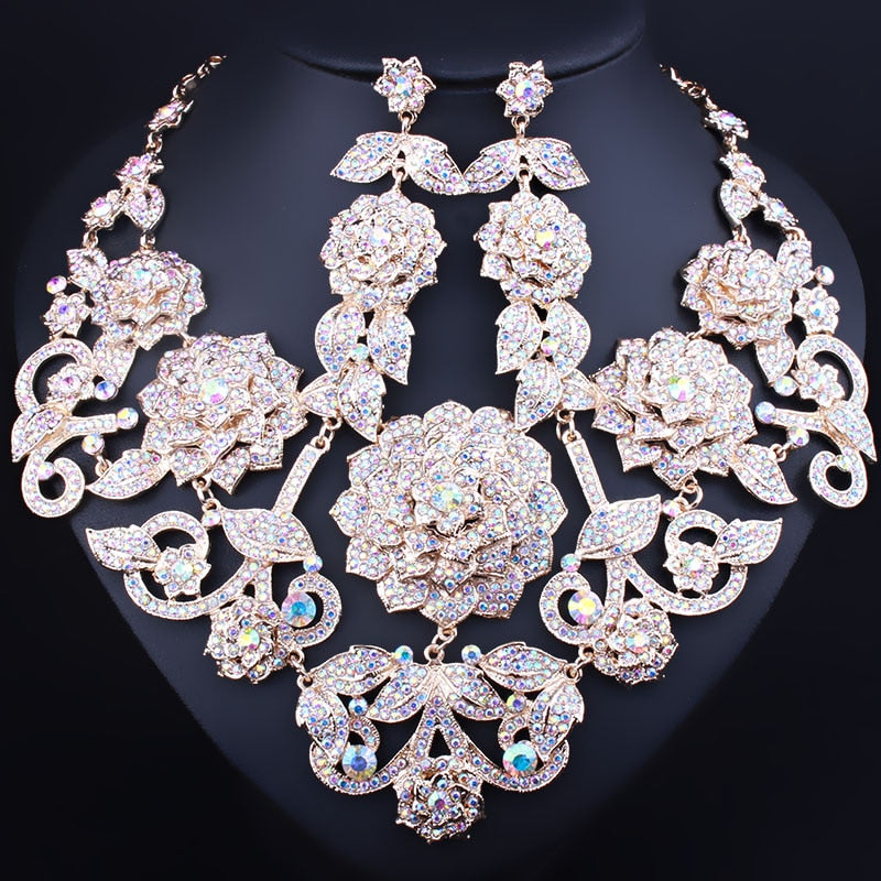 b94fd27d8a FARLENA Wedding Jewelry Exquisite 3D flower necklace earrings set full  crystal rhinestones african bridal jewelry sets