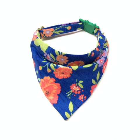 Cat Bandana Collar - Blue Floral
