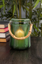 Load image into Gallery viewer, Green Glass Bamboo Lantern