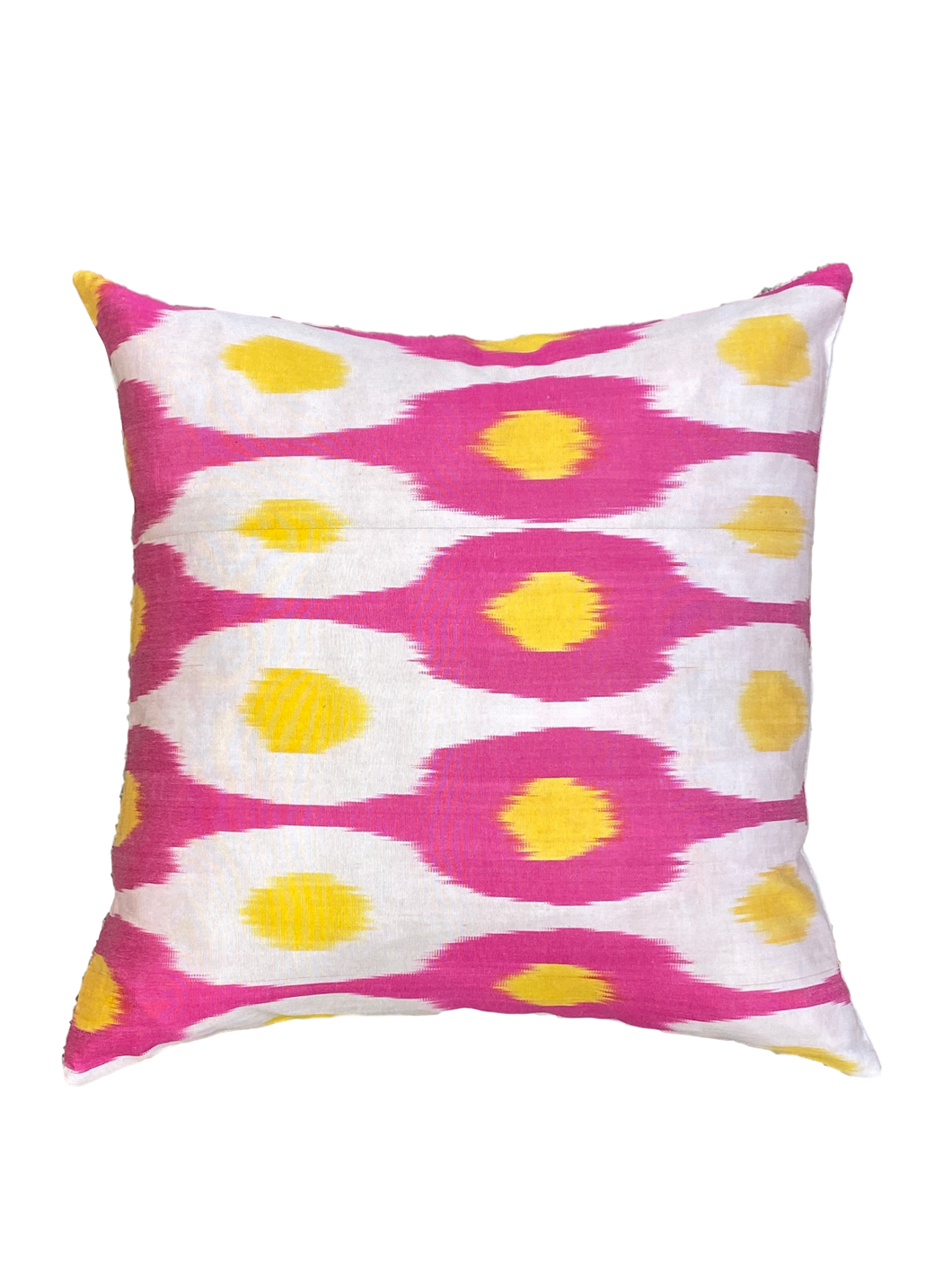 Pink Yellow and White Ikat Pillow