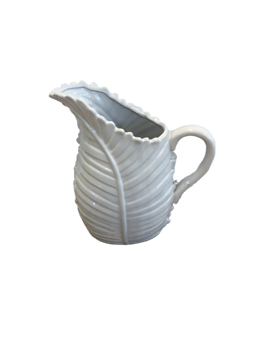 White Palm Leaf Pitcher