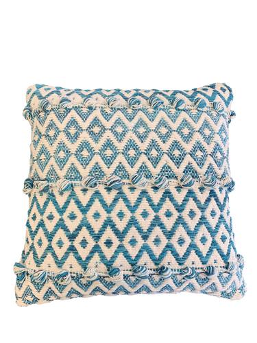Blue and White Woven Pillow
