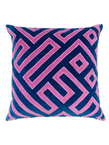 Pink and Navy Cotton Velvet Geometric Throw Pillow