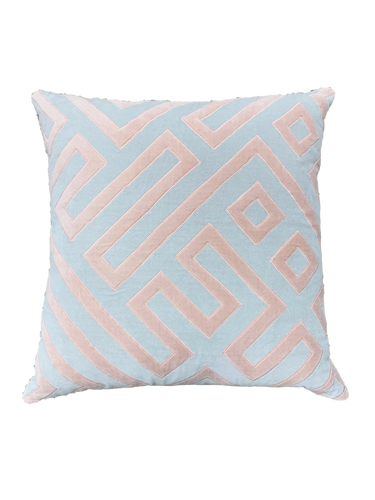 Pewter and Pink Cotton Velvet Geometric Throw Pillow