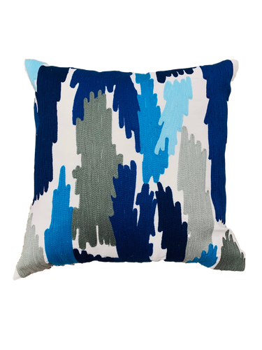 Blues and Grays Ikat Pillow