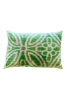 Green Geometric Velvet Like Woven Pillow
