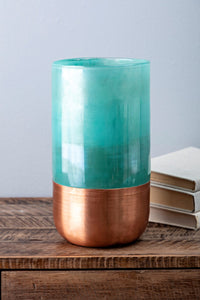 Teal and Copper Vase