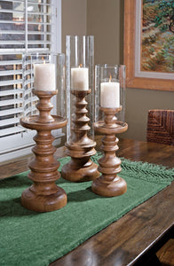 Wood and Glass Candle Holder Trio