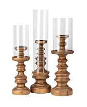 Load image into Gallery viewer, Wood and Glass Candle Holder Trio