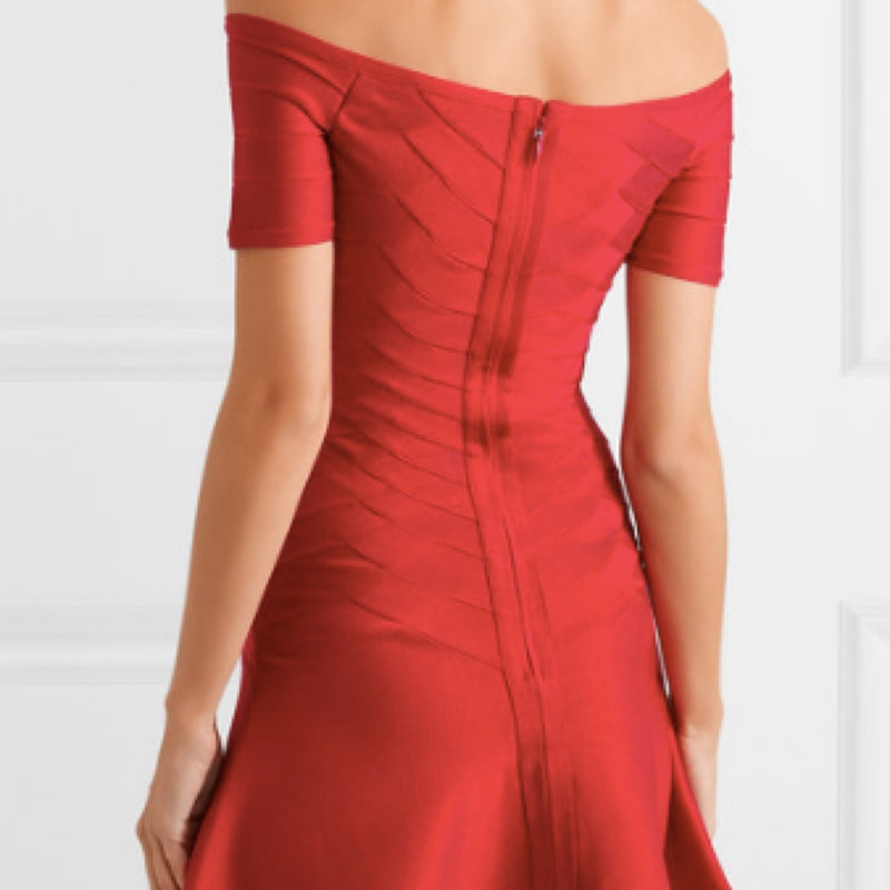 Herve Leger Off The Shoulder Bandage Dress