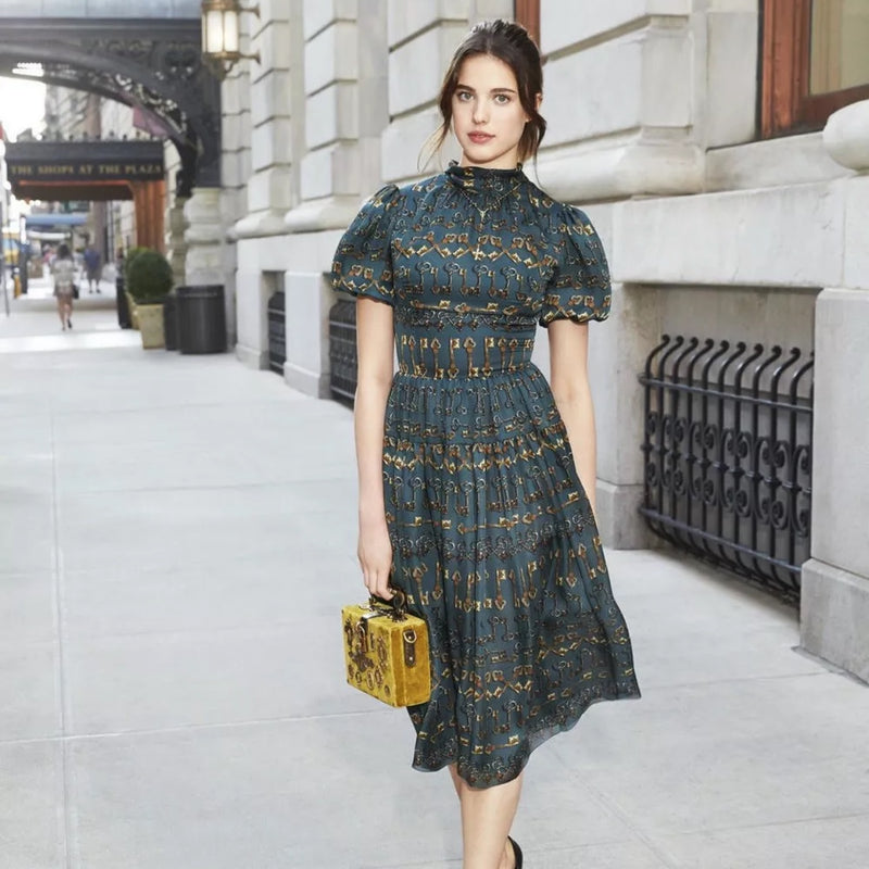 Dolce & Gabbana Key Print Dress AW2014 Bow Midi Silk Dress