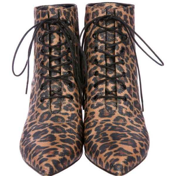Saint Laurent Metallic Leopard Print Ankle Boots