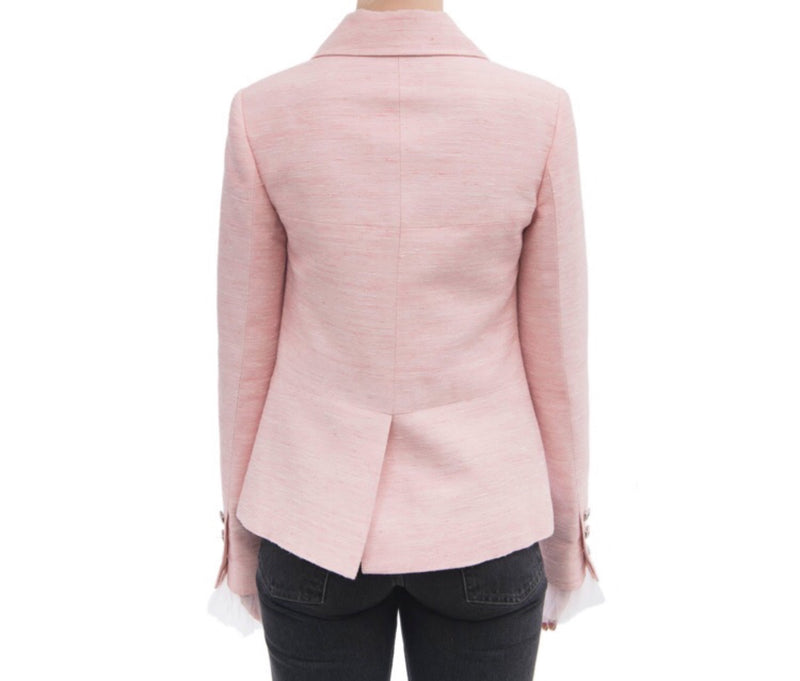 Chanel Pink Jacket W Tulle Cuffs