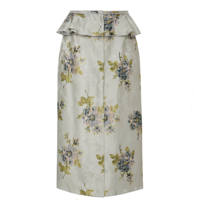 Brock Collection Silvi Floral Silk Jacquard Peplum Skirt
