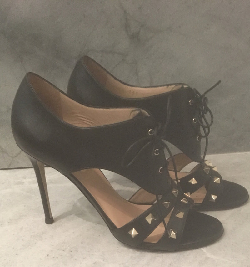 Valentino Cut-Out Bootie With Lace-up Detail