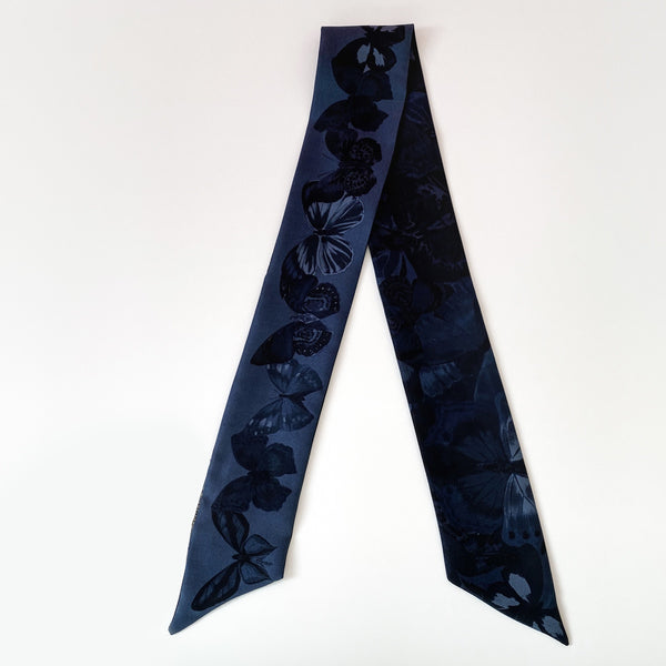 Valentino Blue Butterfly Twilly Scarf