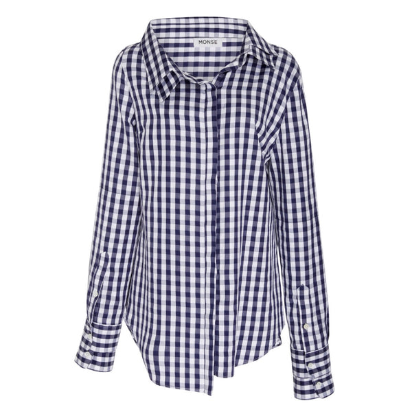 Monse Double Collar Gingham Top