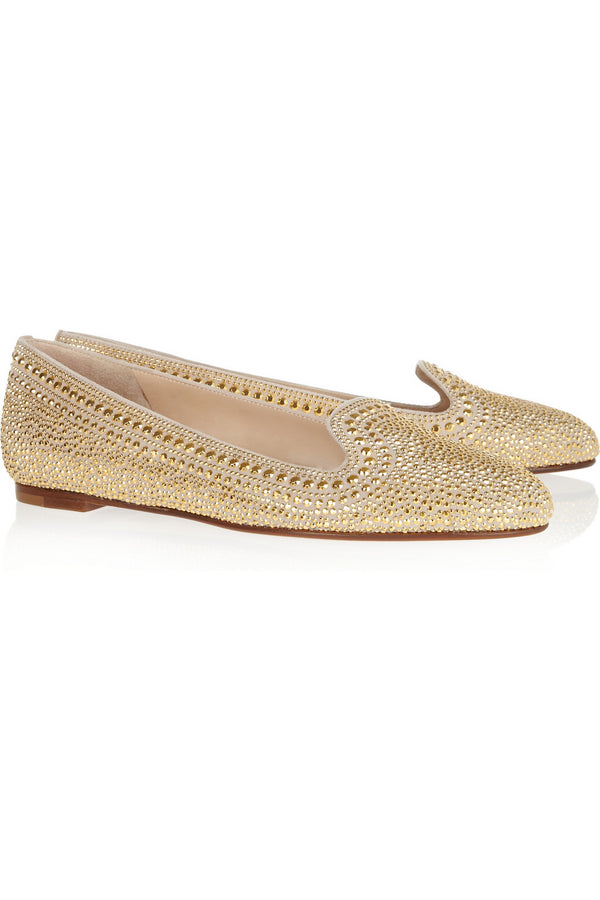 Valentino Crystal Studded Leather Slippers