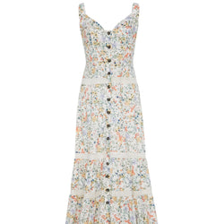 Saloni Fara Front Buttoned Tiered Floral Dress