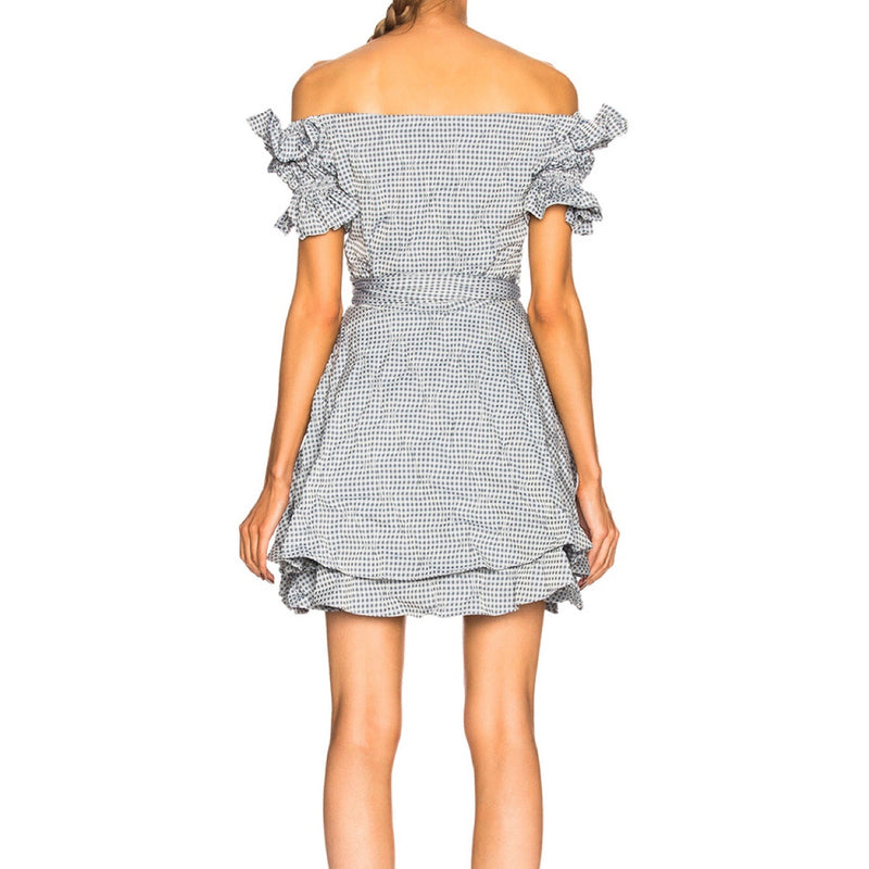 Jonathan Simkhai Gingham Mini Off-Shoulder Wrap Dress