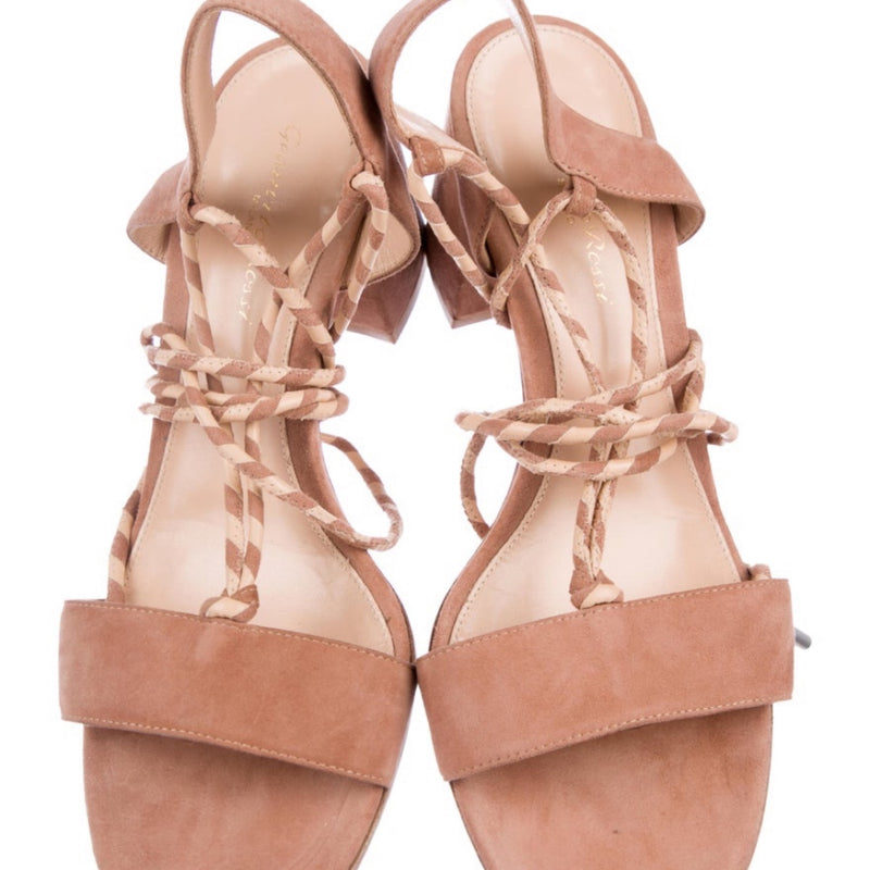 Gianvito Rossi Lace Up Suede Sandal