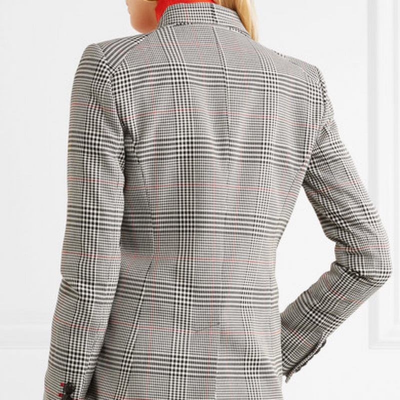 Veronica Beard Eva Crepe Checked Blazer