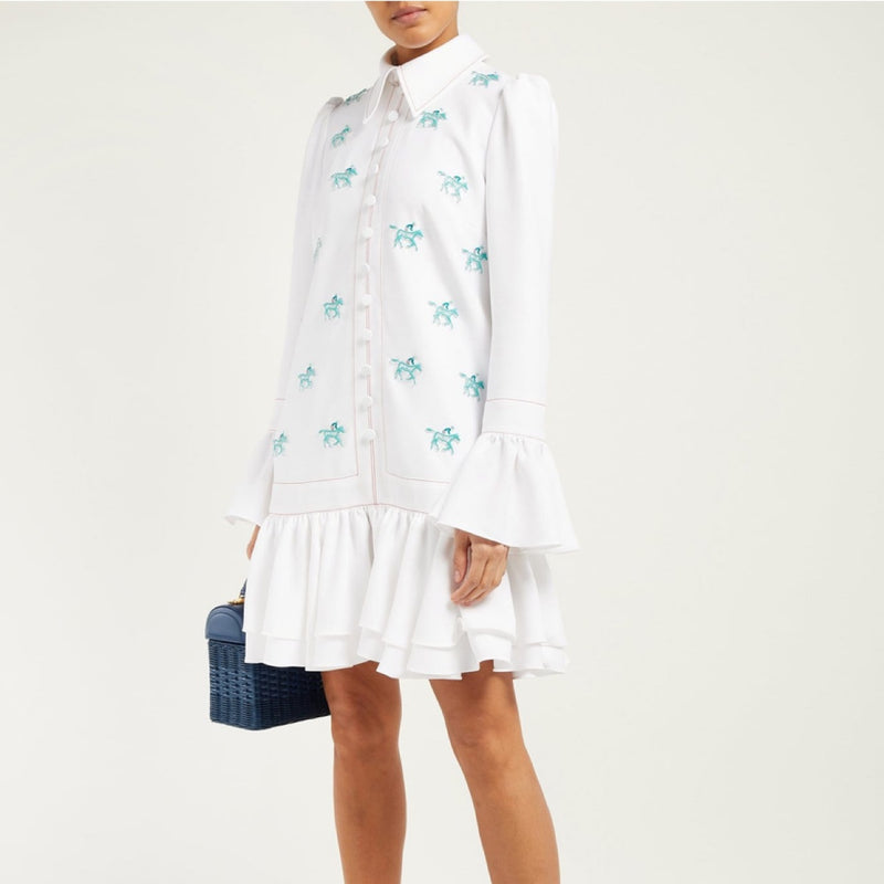 Horse-appliqué Crepe Mini Dress